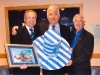 john-bailey-presents-his-wembley-top-hat-to-efc-chairman-bill-kenwright-together-with-rev-harry-ross